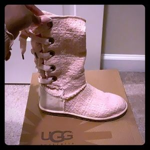 Pink lace up ugg